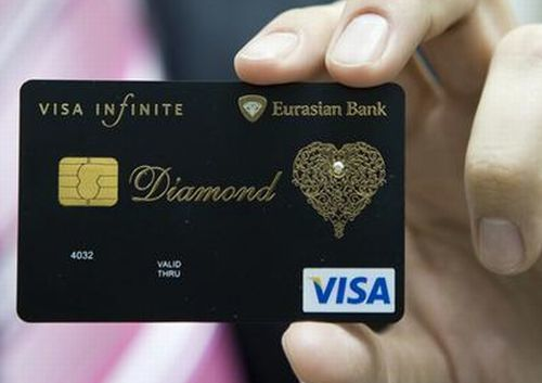 tarjeta de cr dito visa con diamante. Black Bedroom Furniture Sets. Home Design Ideas