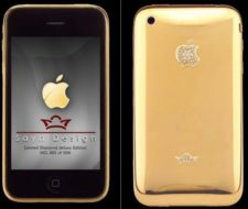 Iphone 3G de oro con diamantes